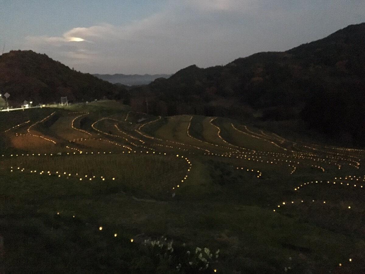 大山千枚田の日没
